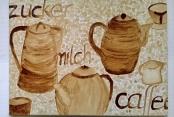 Frau Pfeiffer malte mit Kaffee
