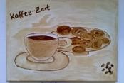 Frau Nedkov malte mit Kaffee